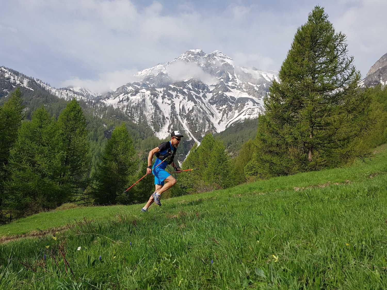 Un coureur dans les prairies alpines au printemps.